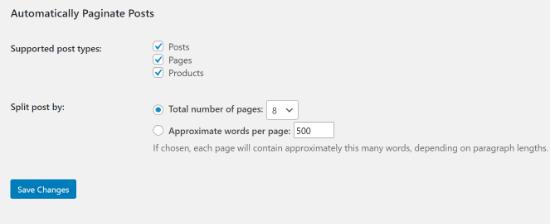 Impagina automaticamente la sezione dei post