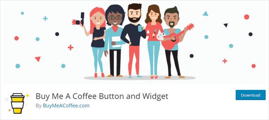 The Buy Me a Coffee tip jar plugin on the WordPress website