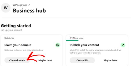 Claim domain in Pinterest