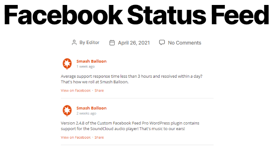 Custom Facebook status feed example