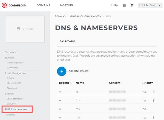 Gestione DNS in Domain.com