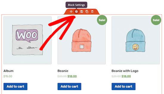 Edit products block settings