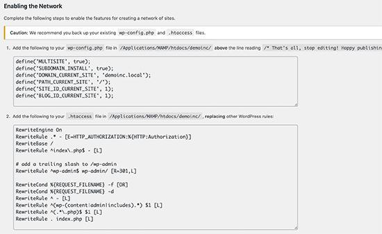 Codice di configurazione richiesto per abilitare WordPress multisito
