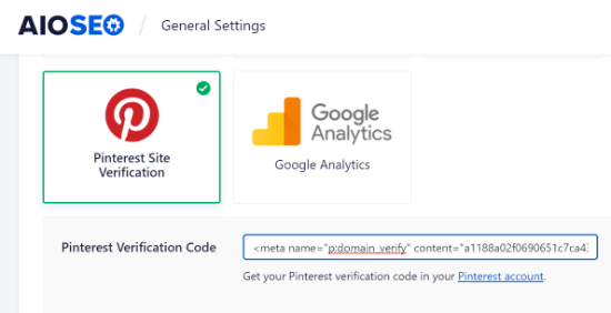 Enter Pinterest Verification Code