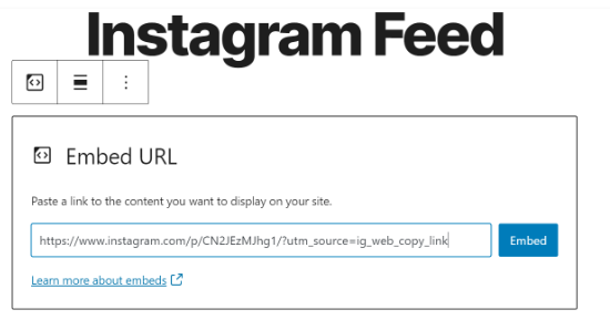 Enter the Instagram post URL