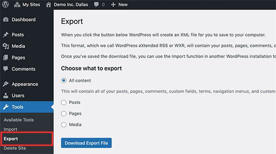 Esportazione di un singolo sito da una rete multisito di WordPress