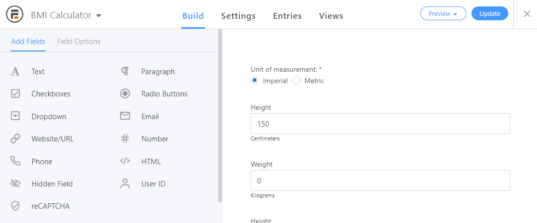 The default Build view in Formidable Forms