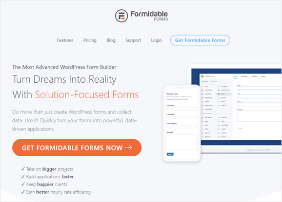The Formidable Forms plugin's website