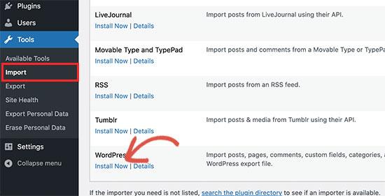 Importa WordPress