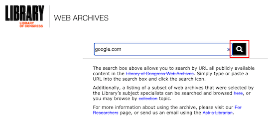 Library of Congress web archive