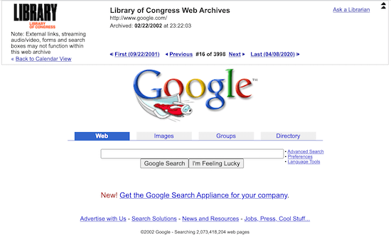 Library of Congress website result