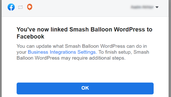 Linked Smash Balloon to Facebook