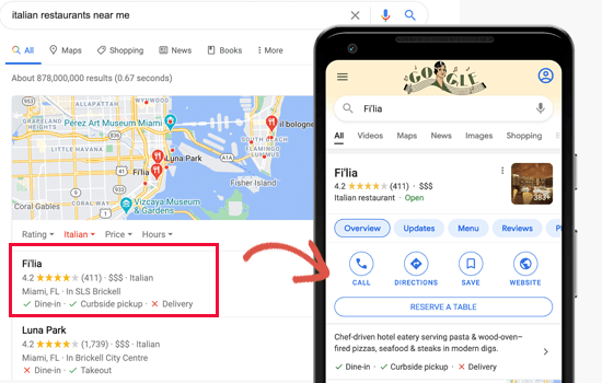 Preview of local search results in mobile and desktop
