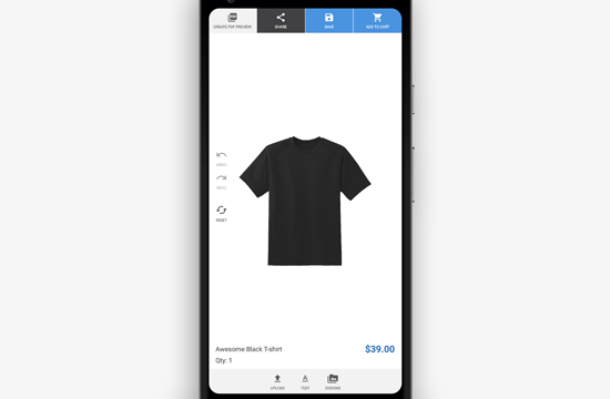 Mobile preview of the custom product builder for WooCommerce
