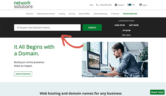 Looking up for a domain name on Network Solutions