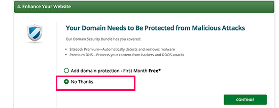 Skip premium DNS and malware protection offers