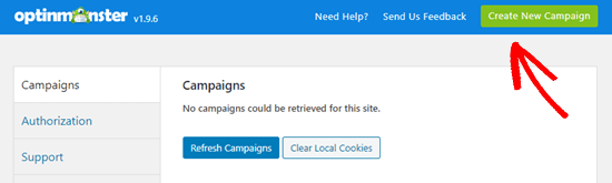 Create a new campaign in OptinMonster