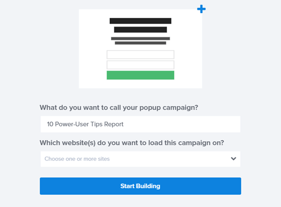 Give your campaign a name and click to start building
