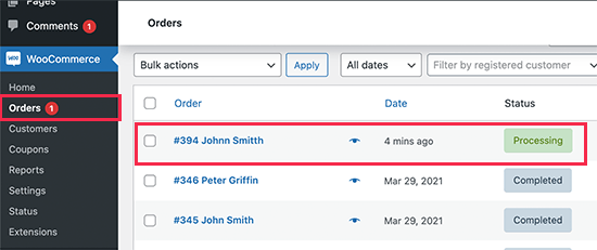 Viewing orders in WooCommerce