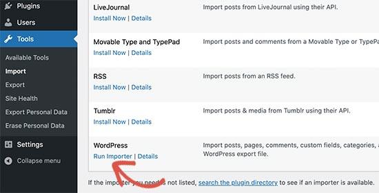 Esegui l'utilità di importazione di WordPress