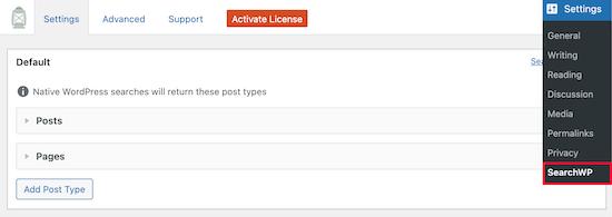SearchWP settings menu