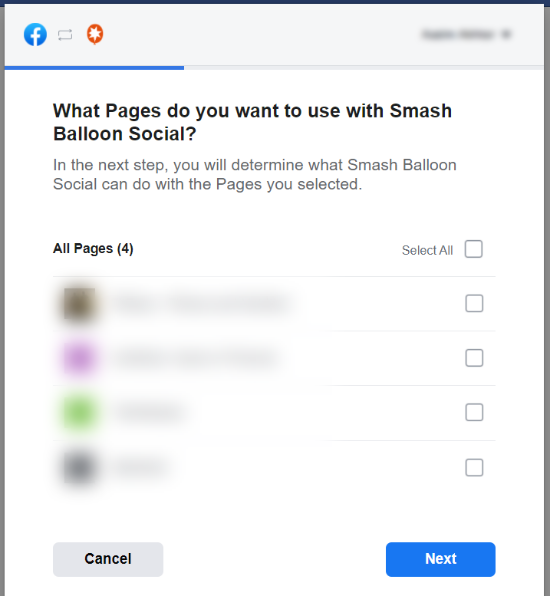 Select pages to use with Smash Balloon