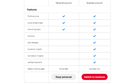 Select the Switch to business button