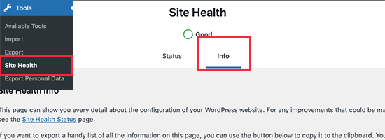 Site Health in WordPress