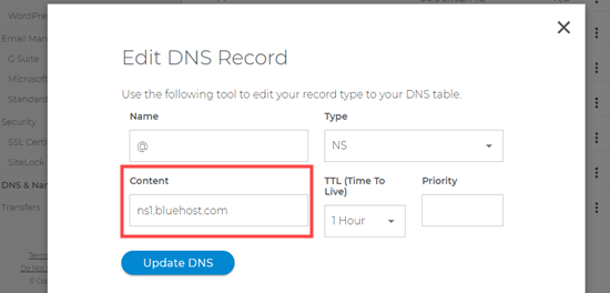 Changing DNS information in Domain.com