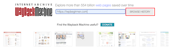 Wayback Machine browse site history