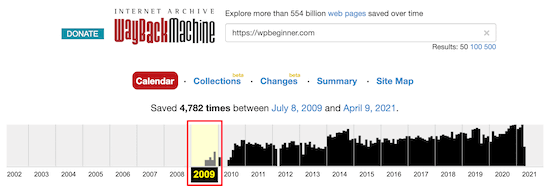 Wayback Machine sort by years