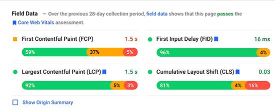 Core Web Vitals report example