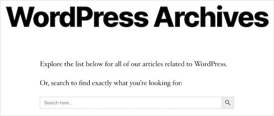 WordPress archive class  hunt  example