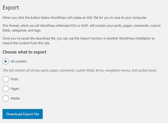 The built-in Export options in WordPress
