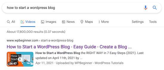 WordPress video SEO search results page