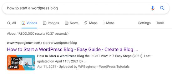 Pagina dei risultati di ricerca SEO per video WordPress