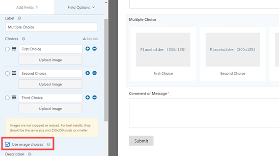The 'Use image choices' option in WPForms
