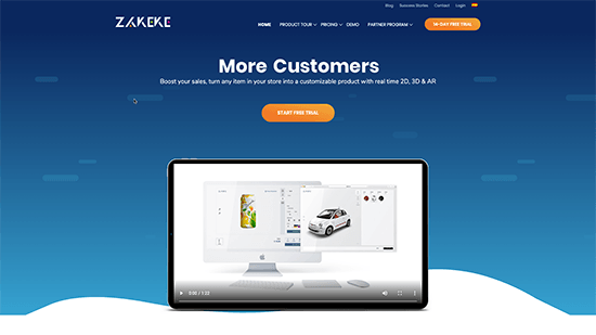 Zakeke website