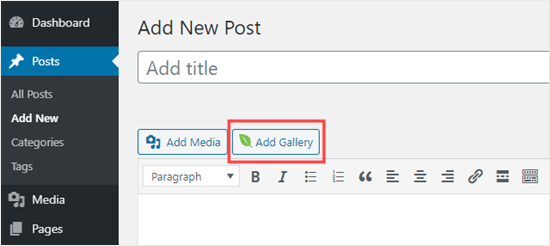 Adding an Envira gallery in the classic editor