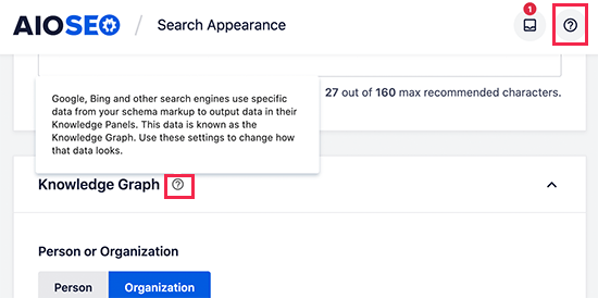 All in One SEO help options