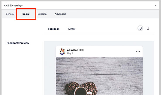 AIOSEO social settings for posts and pages