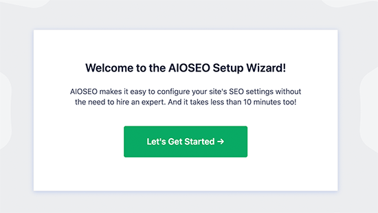 All in One SEO wizard