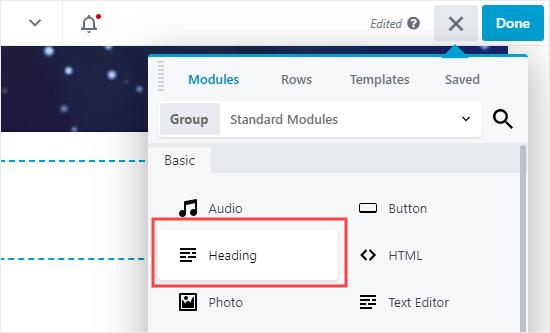 Add a heading module to Beaver Builder