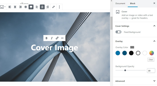 Cover image in WordPress block editor