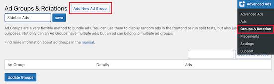 Create new ad group