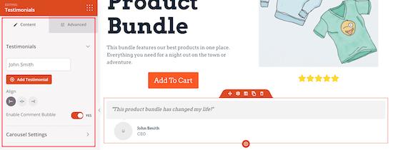 Customize product testimonials