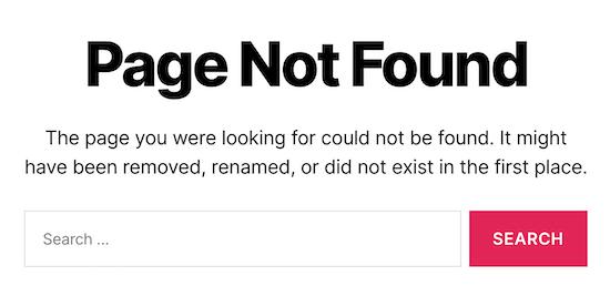 Pagina predefinita di WordPress 404
