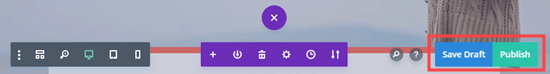 The Save Draft and Publish buttons in Divi