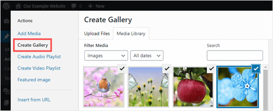 Creating a new gallery using the Media Library in the Classic Editor