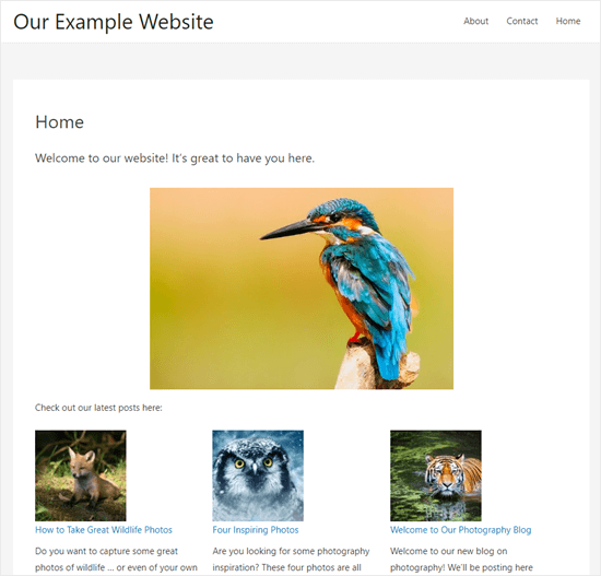 The homepage created with the block editor, live on the site